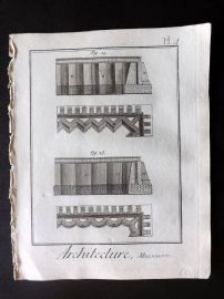 Diderot 1780's Antique Print. Architecture, Maconnerie 04 Masonry